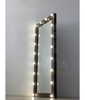 Гримерное зеркало 180х80 черное дерево с подсветкой
